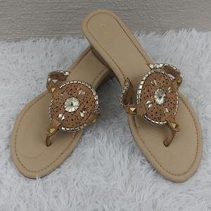 Cato Tan V-Strap Thong Slip On Wedge Heel Sandals